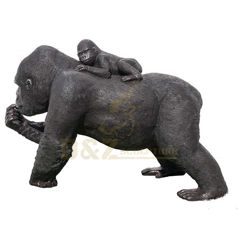 Garden Outdoor Decor Supplies Large Animal Gorilla Bronze Sculptures