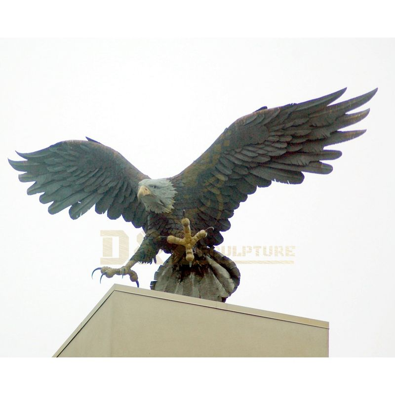 Outdoor Large Size Bronze Eagle Sculptures For Home Park Decoration