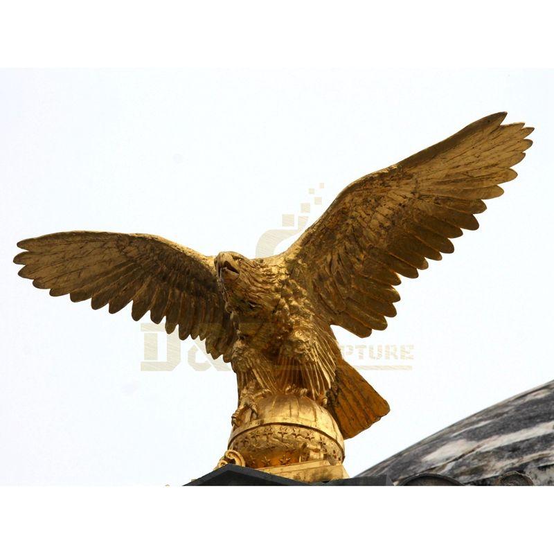 Handmade Metal Home Decor Golden Brass Bronze Eagle Sculpture