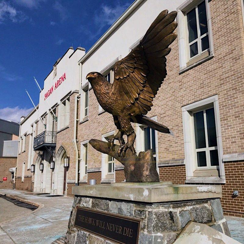 High Quality life size antique brass large bronze eagle hawk sculpture