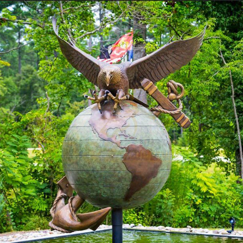 Outdoor Bronze Eagle Statue On The Globe Sculpture