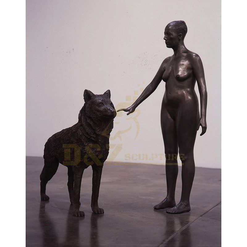 Bronze Abstract Wolf Sculpture Woman Bronze Statues