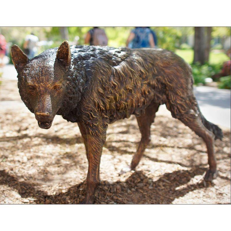 Garden Life Size Standing Bronze Wolf Sculpture