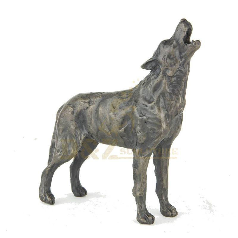 Handmade Life Size Brass Bronze Animals Wolf Statue