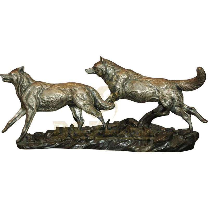 Large Size Life Size Bronze Wolf Sculpture For Decoration