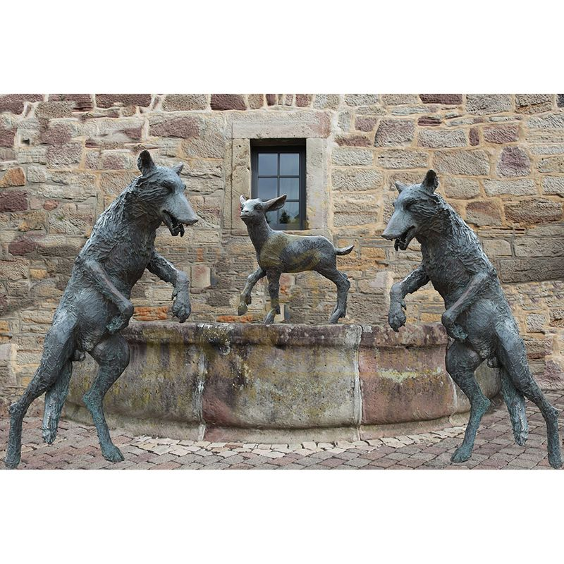 Wolf Bronze Sculpture For Garden Zoo Decoration