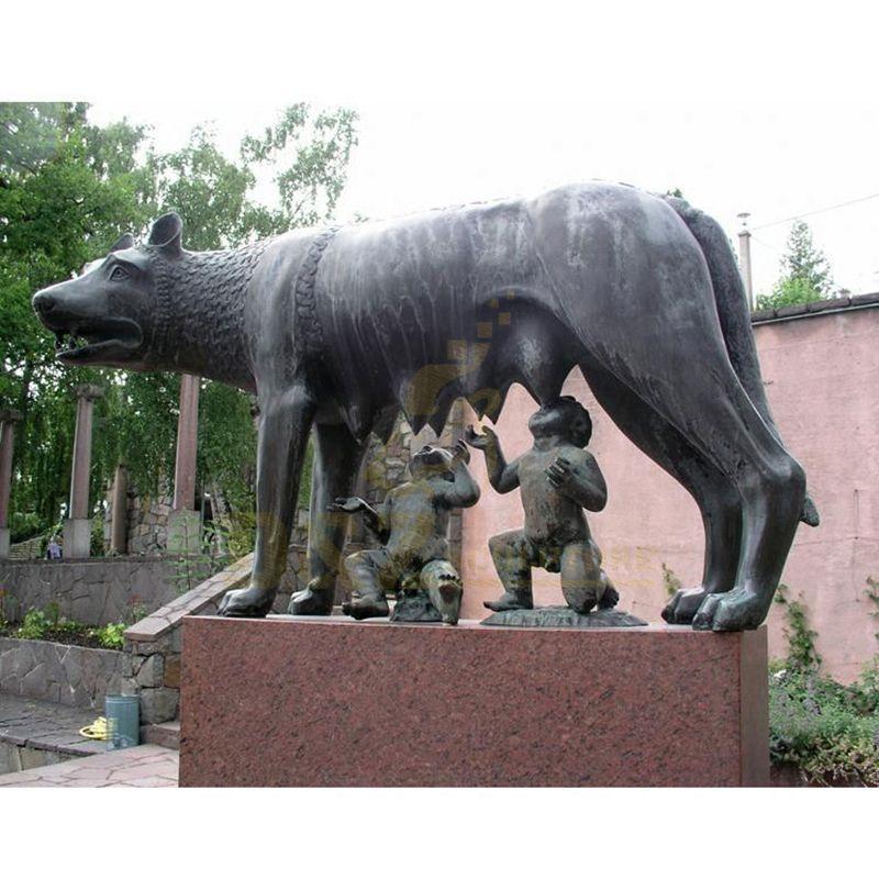 High Quality Garden Decor Bronze Life Size Wolf Sculpture