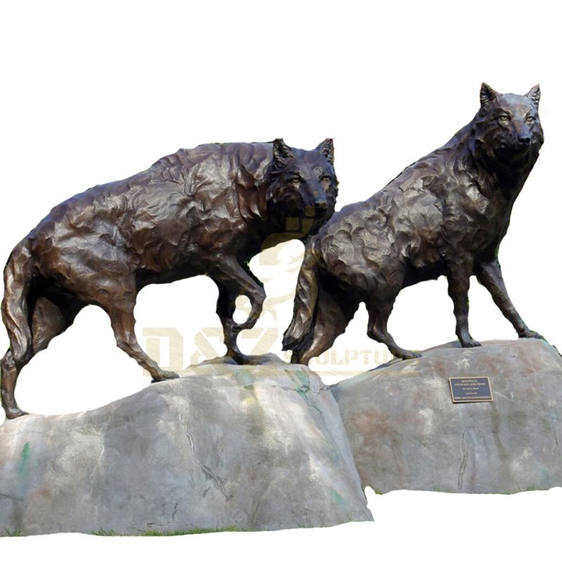 Life Size Wolf Bronze Statue Garden Sculpture