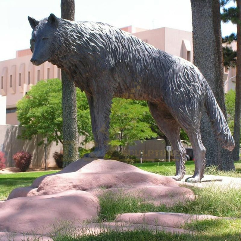 Bronze Animal Statue Metal Brass Wolf Sculpture