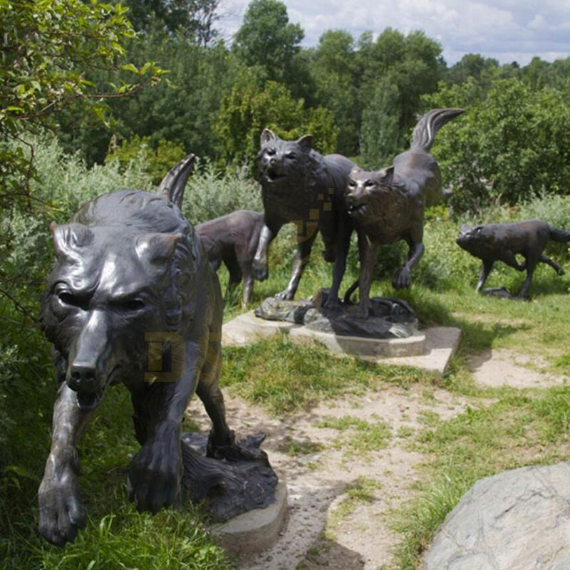 Customized Casting Brass Animal Sculpture Bronze Wolfs Statue