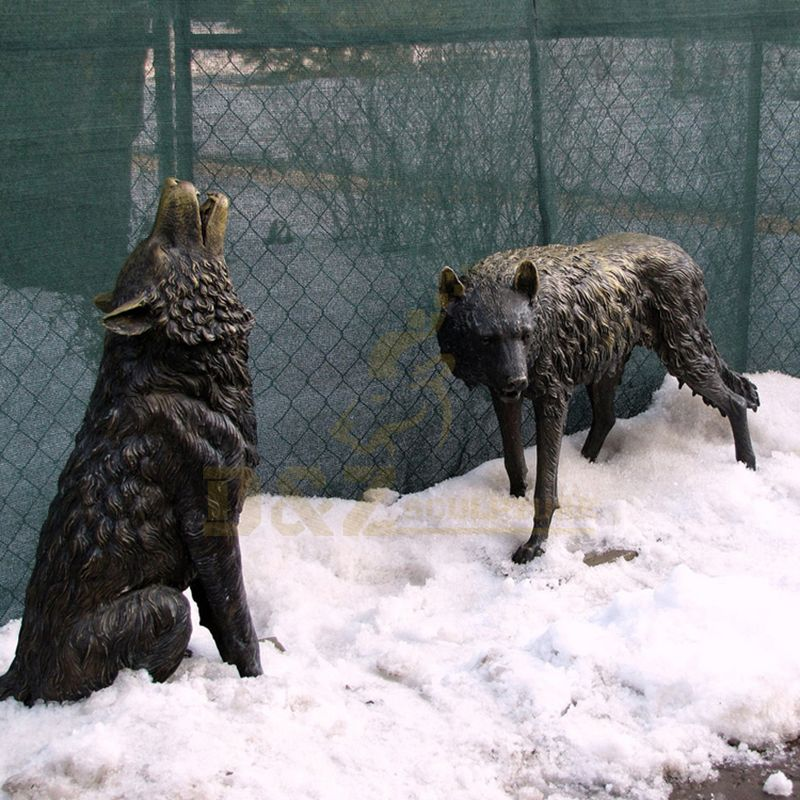 Outdoor Decoration Metal Two Life Size Bronze Wolf Sculpture