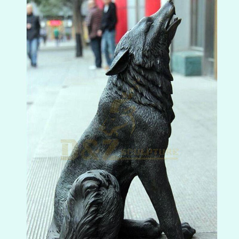 Outdoor Life Size Metal Art Animals Sculpture Bronze Wolf Statues