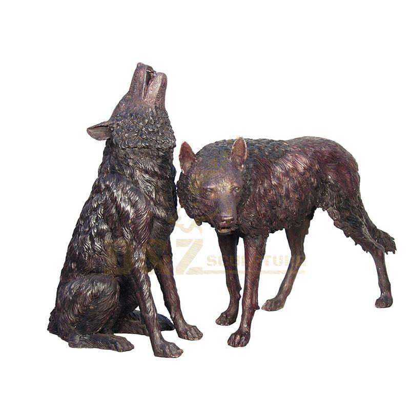 Casting Metal Bronze Garden Wolf Howling Sculpture