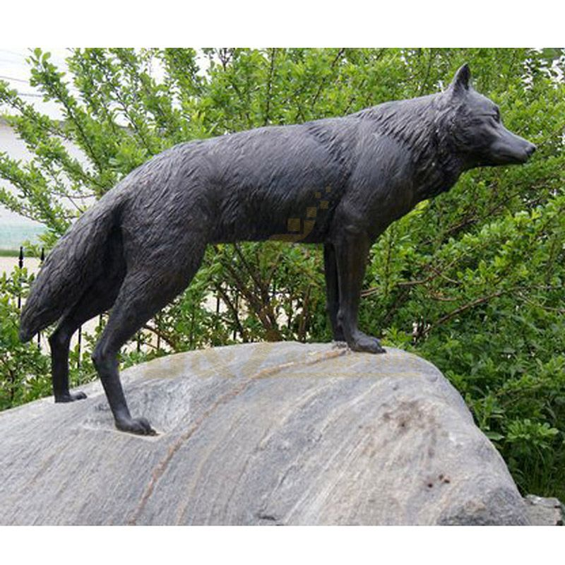 Modern Style Life Size Abstract Bronze Wolf Sculpture