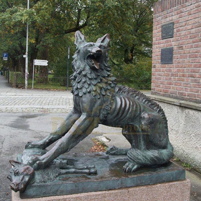 Outdoor Garden Decoration Life Size Bronze Wolf Animal Sculpture