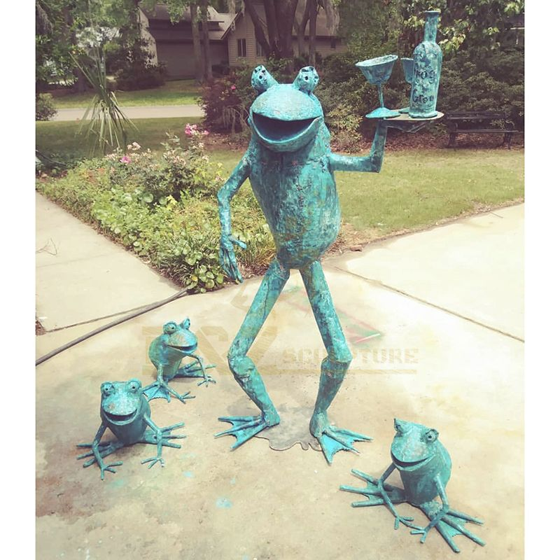 Outdoor Garden Decoration Metal Bronze Frog Garden Sculpture
