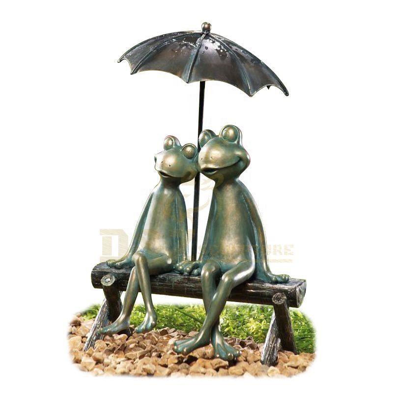 Casting Finish Garden Decor Statues Bronze Frog Sculpture