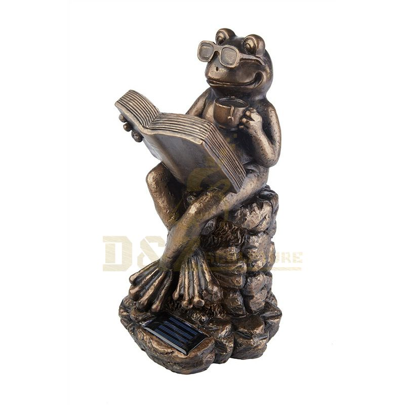 Realistic Lawn Bronze Frog Reading Book Sculpture