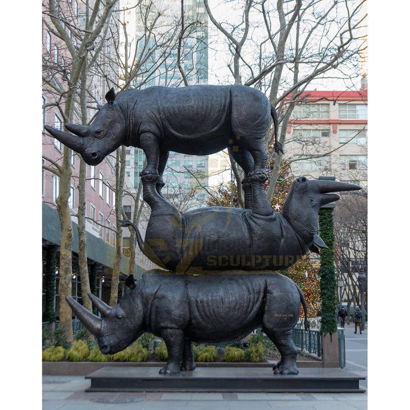 Outdoor Garden Decorative Bronze Rhinoceros Sculpture