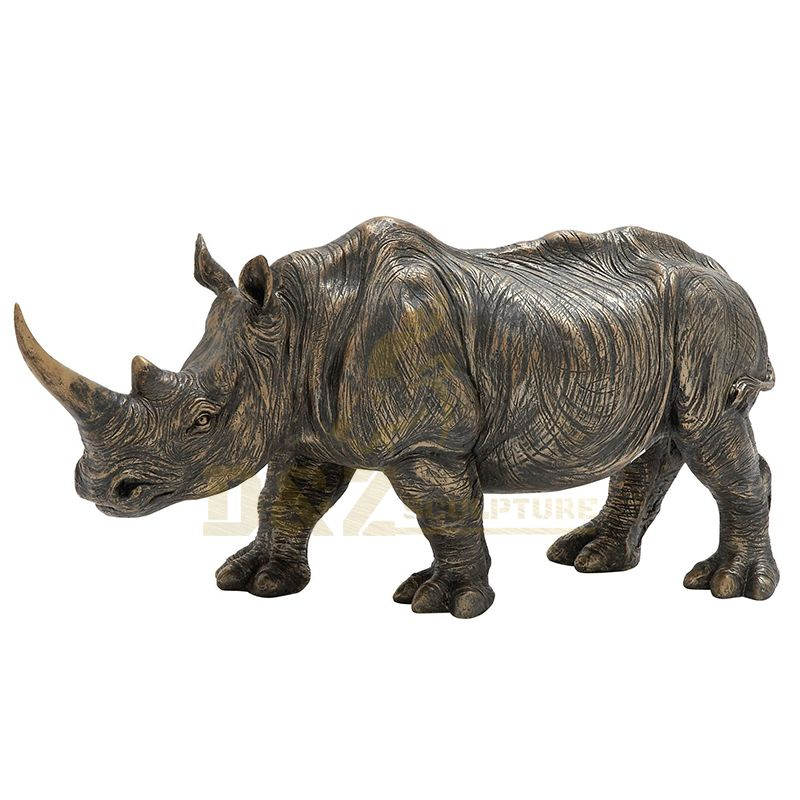 Outdoor Decoration Antique Life Size Bronze Rhino Sculpture