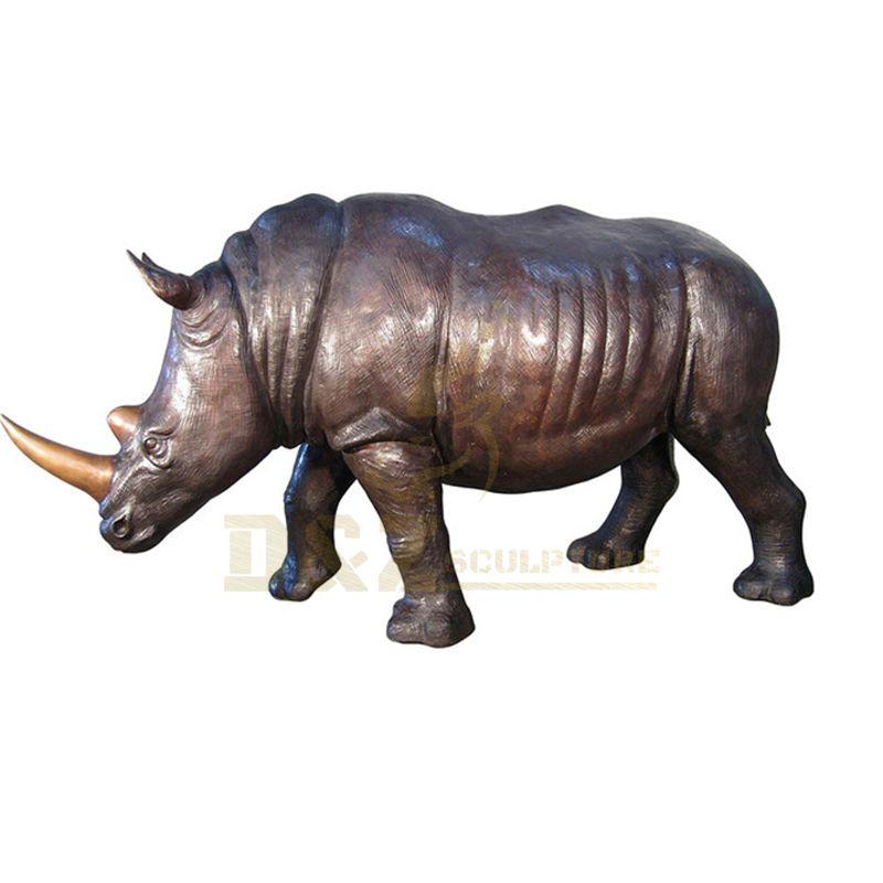Outdoor Rhinoceros Decoration Large Size Bronze Rhinoceros Sculpture