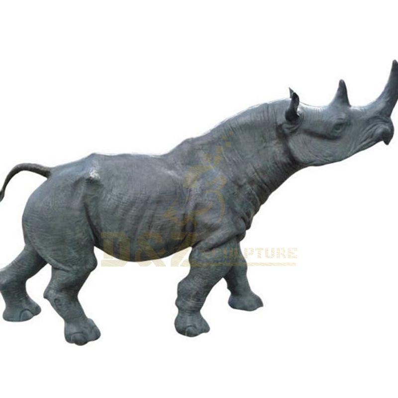 Outdoor Decoration Life Size Bronze Rhinoceros Sculpture