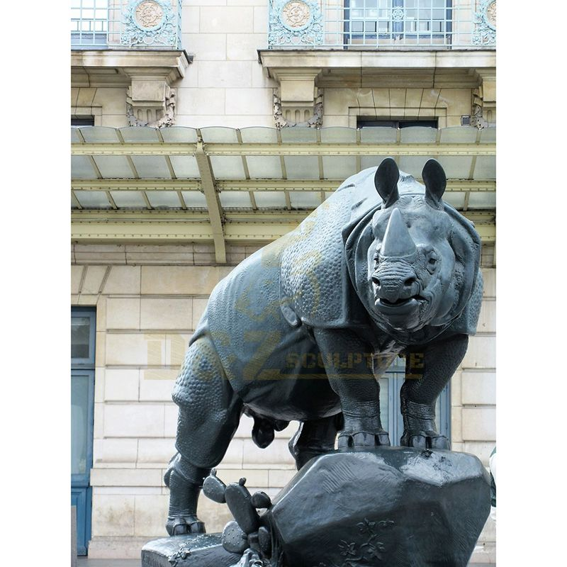 City Decoration Large Bronze Rhinoceros Sculpture