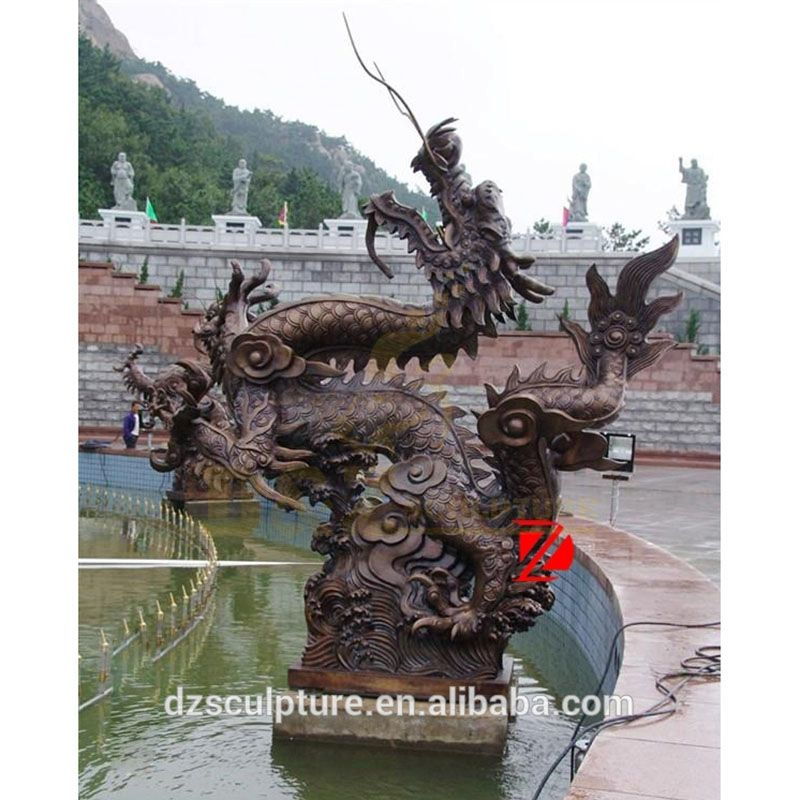 Chinese bronze dragon sculpture water fountain for garden decoration
