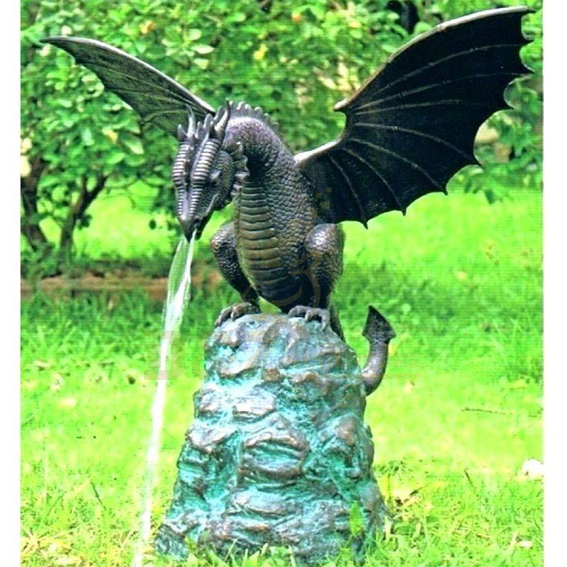 Outdoor Bronze Garden Dragon Sculpture With Wings