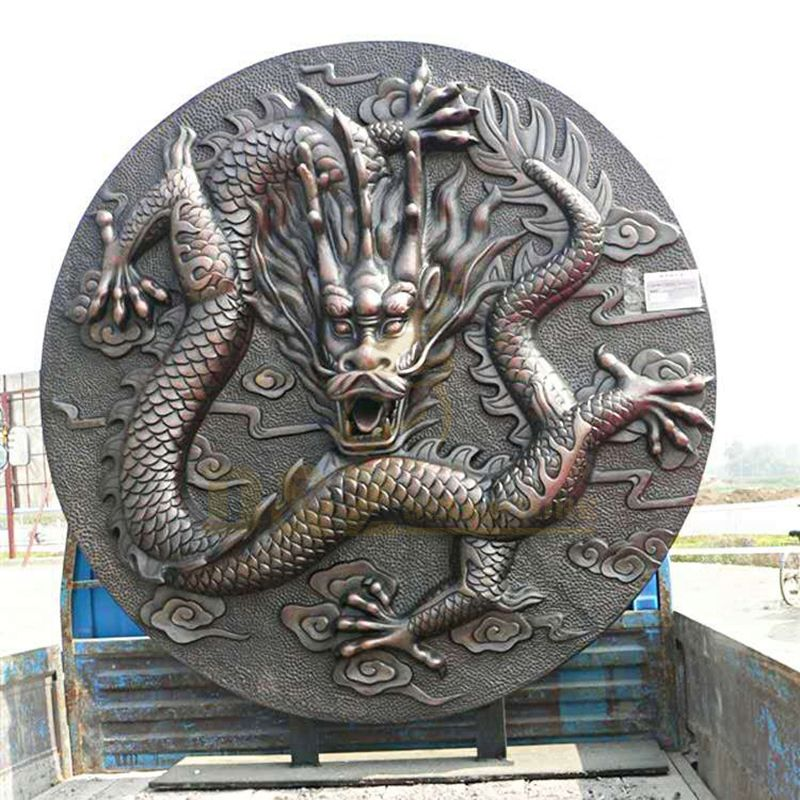 Home Decorative Bronze Relief Dragon Statue Wall Sculpture