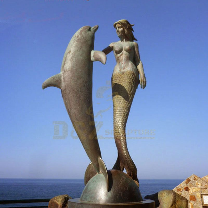 Life Size Bronze Sculpture Dolphin Statue Bronze Woman Sculpture