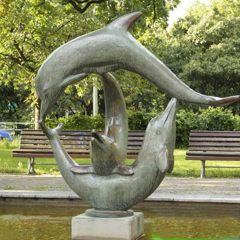 Outdoor Metal Animal Bronze Dolphin Sculpture