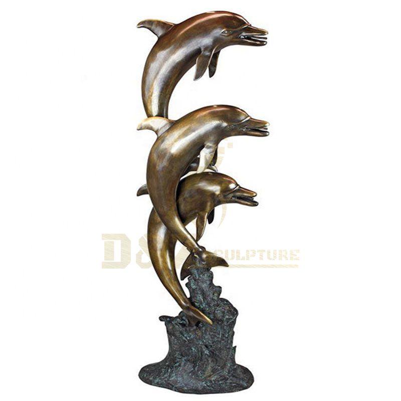Garden Casting Bronze Dolphin Fountain Sculpture