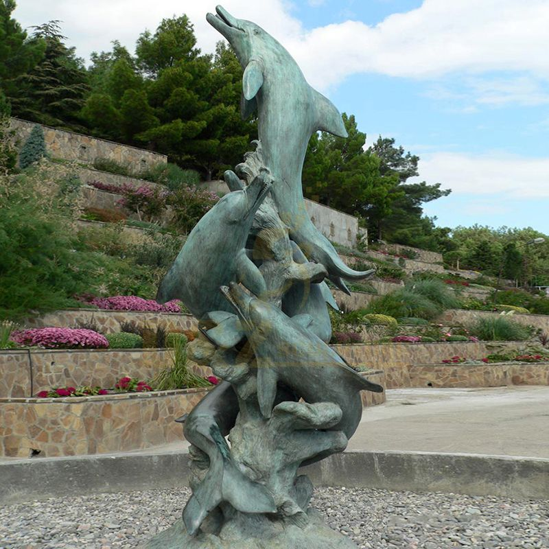 Home Decoration Metal Craft Animal Sculpture Cast Bronze Dolphin Figurine Statue