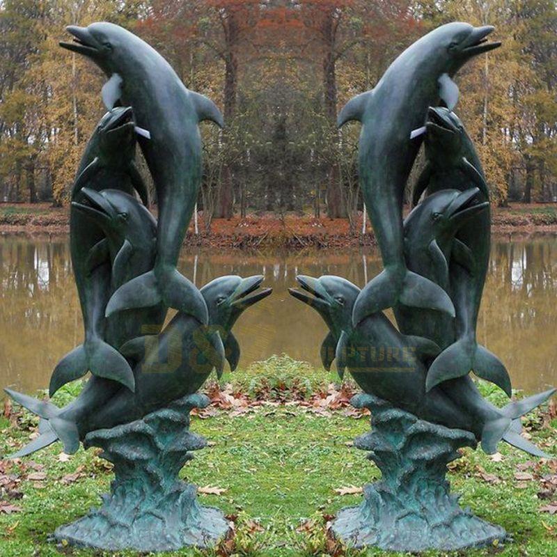 Garden Decorative Bronze Dolphin Fountain Sculptures for Sale
