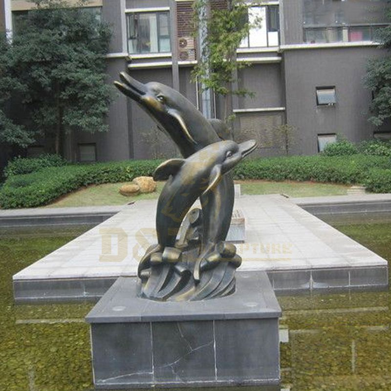 Outdoor Garden Metal Bronze Dolphin Sculpture For Sale