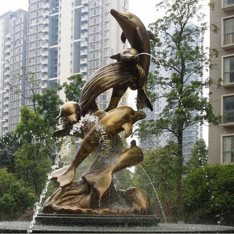 Large Jumping Bronze Metal Dolphin Fountain Sculpture