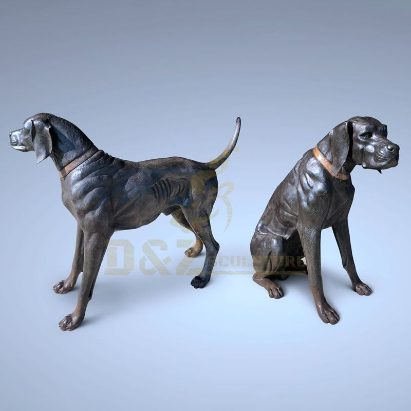 Home Decor Antique Metal Art Antique Bronze Dog Sculptures