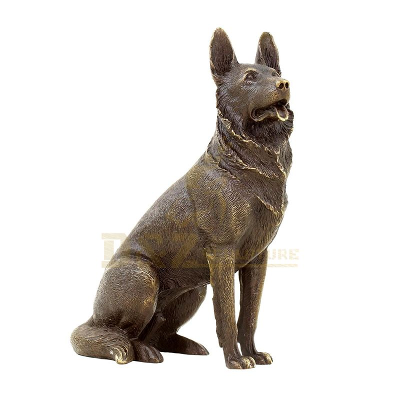 Brass Dog Statue For Garden and Hall Decor Brass Metal Made Dog Sculpture
