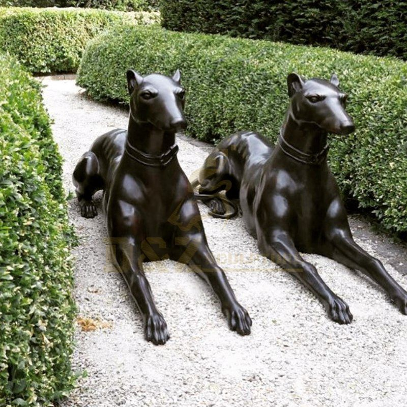 Cute Outdoor Decoration Life Size Brass Bronze Dog Sculpture