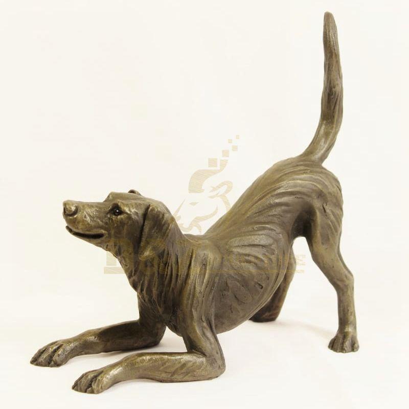 Customized small brass animal dog sculpture indoor statue