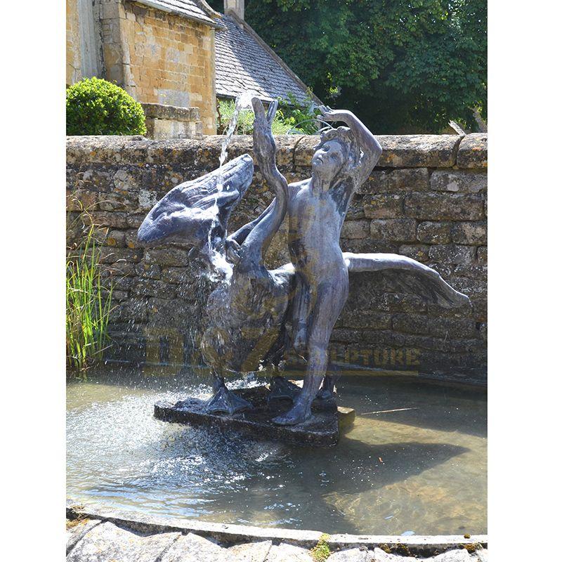 Outdoor Garden Center Decoration Metal Bronze Swan Fountain Sculpture