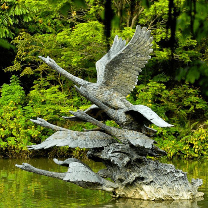 Home Decoration Casting Bronze Animals Bronze Swan Sculpture