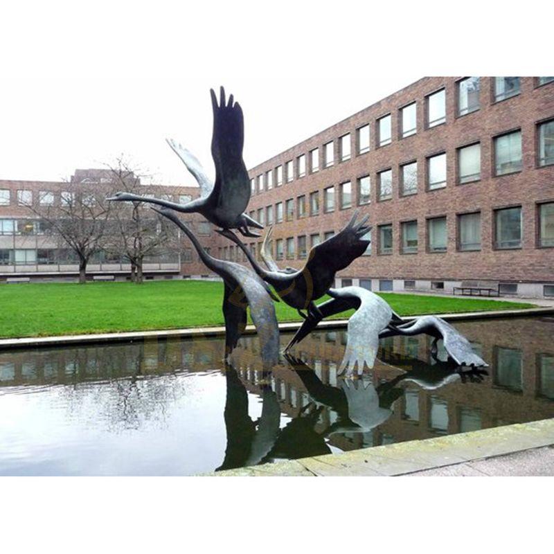 Spreading Wings Garden Statue Swan Bronze Swan Sculpture