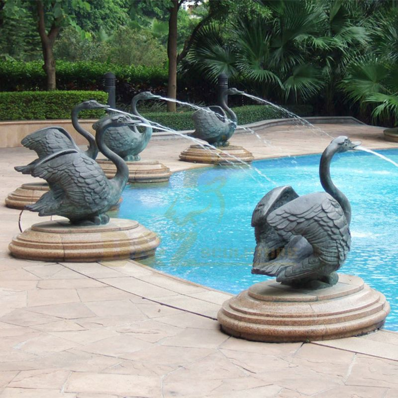 Large outdoor decorative bronze swan fountain for sale