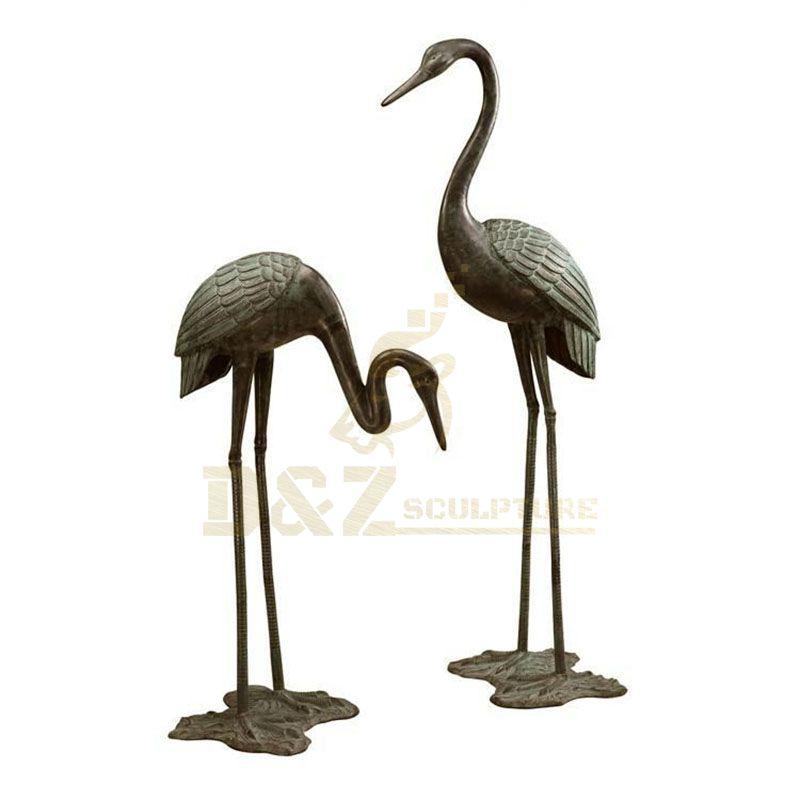 Life Size Park Decorative Bronze Casting Garden Animal Crane Sculpture