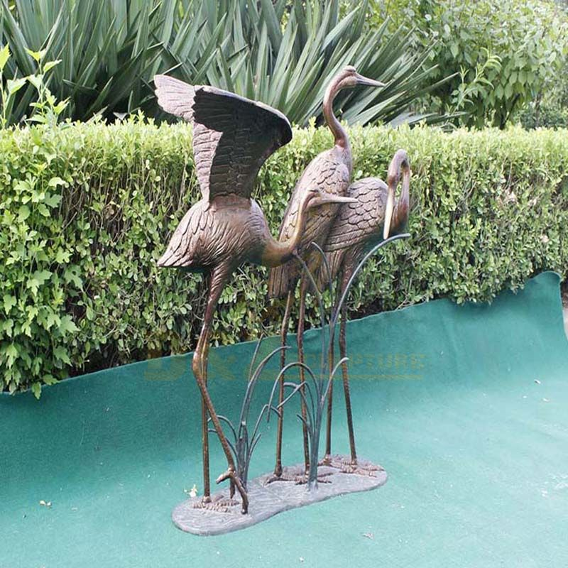 Antique Bronze Crane Statue Sculpture