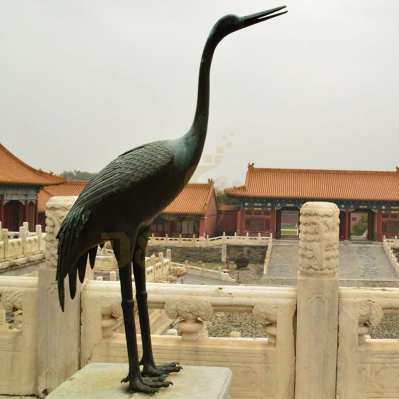 Chinese Ancient Bronze Crane Bird And Turtle Sculpture