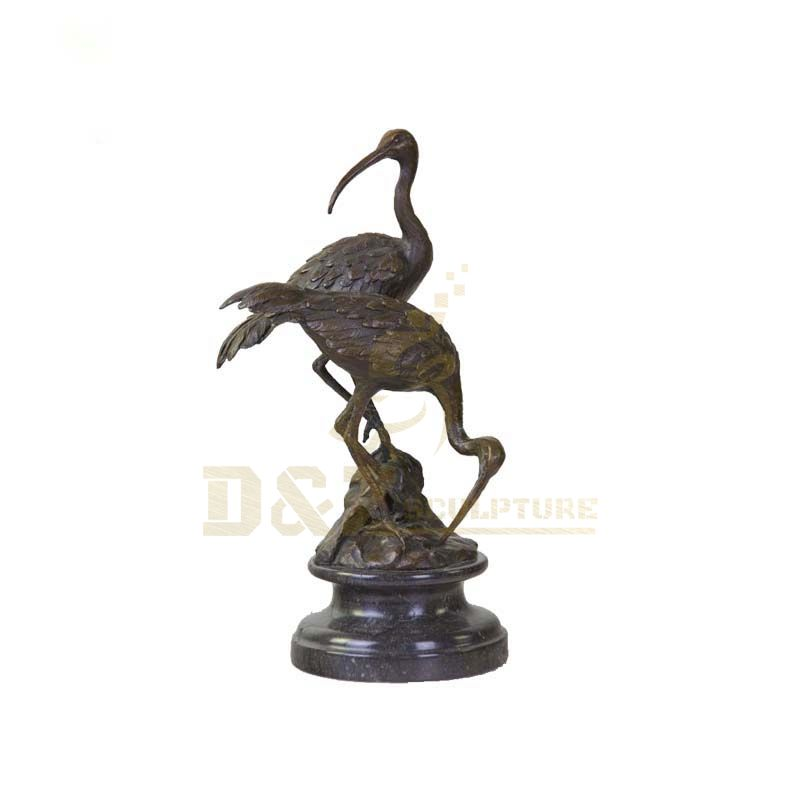 Antique Style Bronze Metal Decorative Crane Statue Sculpture