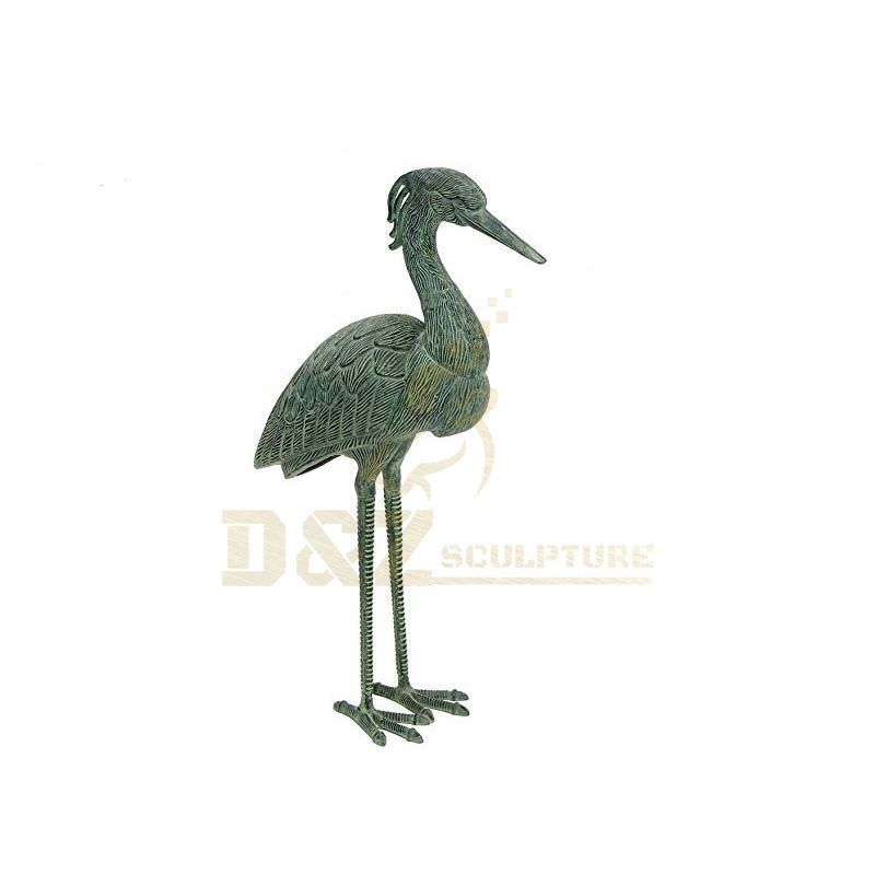 Home decoration life size antique bronze crane sculpture